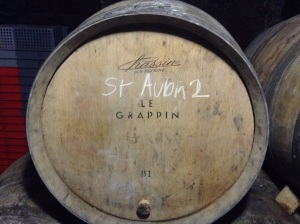 One of the 2 barrels of 2014 St. Aubin at Le Grappin