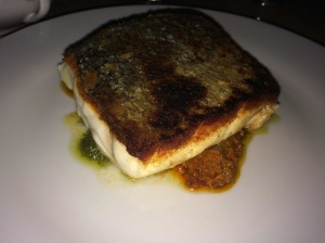 Sea Bass with red and green pesto