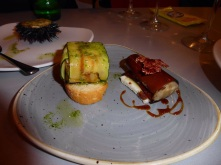 Courgette ribbon stuffed with crabmeat and foie gras roll